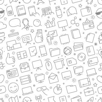 Vector naadloos patroon van verschillende geplaatste webpictogrammen