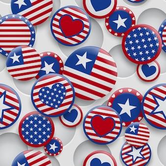 Vector naadloos patroon van verschillende usa symbolen in rode en blauwe kleuren op witte achtergrond met gaten. onafhankelijkheidsdag verenigde staten van amerika