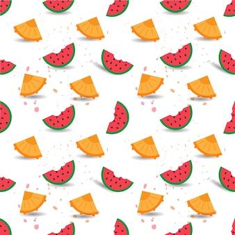Vector naadloos patroon van watermeloen en ananassen