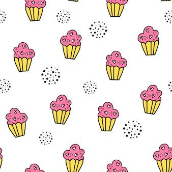 Vector naadloos patroon voor de dag van de valentijnskaart. cakes.