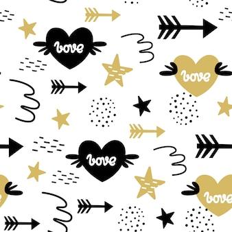 Vector naadloos patroon voor de dag van de valentijnskaart