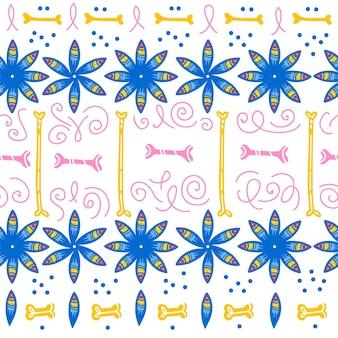 Vector naadloos patroon voor de traditionele viering van mexico - dia de los muertos - met blauwe bloemen, botten, bloemen ornament geïsoleerd op een witte achtergrond. goed voor verpakkingsontwerp, print, decor, web.