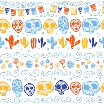 Vector naadloos patroon voor de traditionele viering van mexico - dia de los muertos - met schedel, slinger, cactussen, bloemenornament dat op witte achtergrond wordt geïsoleerd. goed voor verpakkingsontwerp, print, decor, web