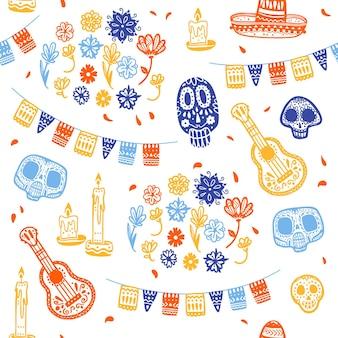 Vector naadloos patroon voor de traditionele viering van mexico - dia de los muertos - met schedel, slinger, gitaar, bloemenornament dat op witte achtergrond wordt geïsoleerd. goed voor verpakkingsontwerp, print, decorweb