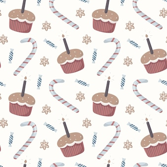 Vector naadloos patroon. winter kinderthema, snoep, grappige cartoon cupcakes met kaarsen, zuurstokken en ingepakte snoepjes. de achtergrond is geschikt voor decoratie en inpakpapier.