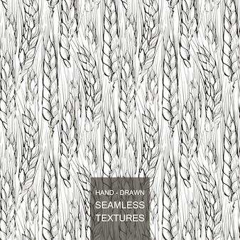 Vector naadloos patroongebied van tarwe. hand getekend gravure illustratie van het platteland