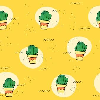Vector naadloos tropisch patroon met cactus in bloempotten