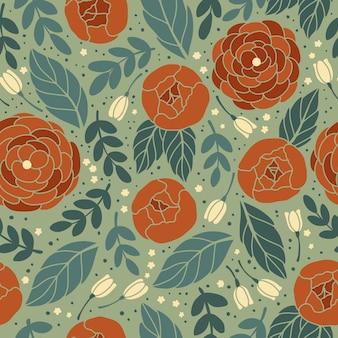 Vector naadloos uitstekend patroon met bloem.