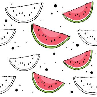 Vector naadloos watermeloenpatroon.