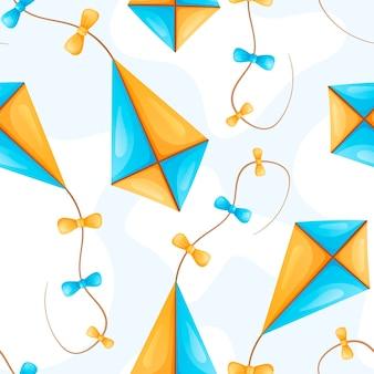 Vector naadloos zomerpatroon met veelkleurige vliegende vliegers aan een touw met bogen. leuke kinderspelletjes of buitenactiviteiten.