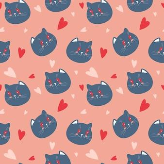 Vector naadloze achtergrond met katten gezichten en harten op een roze achtergrondpatroon voor valentijn