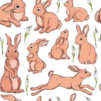 Vector naadloze achtergrond met konijntjes.