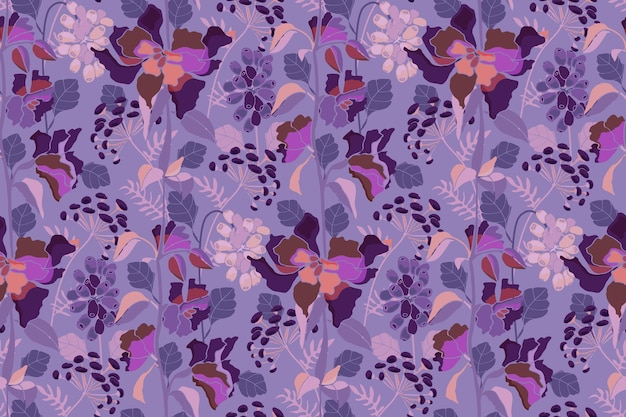 Vector naadloze bloemmotief bloemen kruiden en bessen op een paarse achtergrond