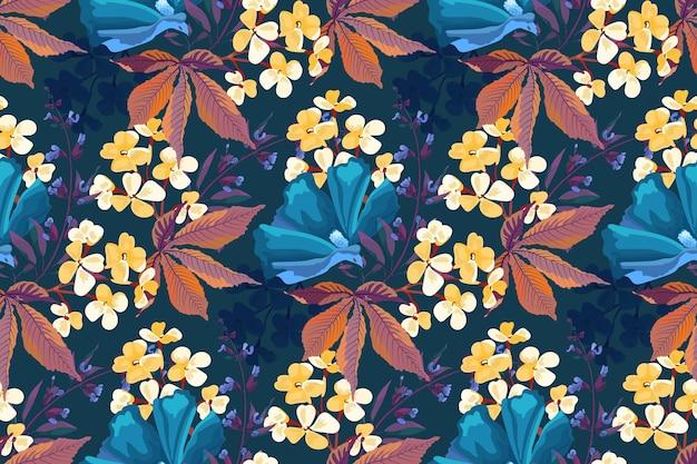 Vector naadloze bloemmotief. gele, blauwe bloemen