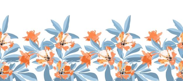 Vector naadloze bloemmotief, grens. oranje, witte bloemen, blauwe takken en bladeren geïsoleerd op een witte achtergrond. voor decoratief ontwerp van alle oppervlakken.