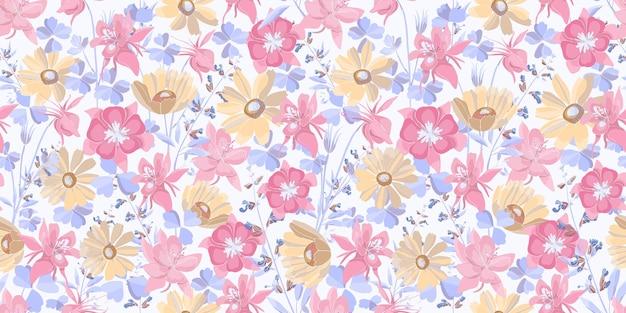 Vector naadloze bloemmotief. pastelkleurige bloemen en bladeren