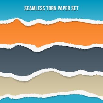 Vector naadloze gescheurd papier. oranje en blauw, slategray en strepen, patroon en achtergrond
