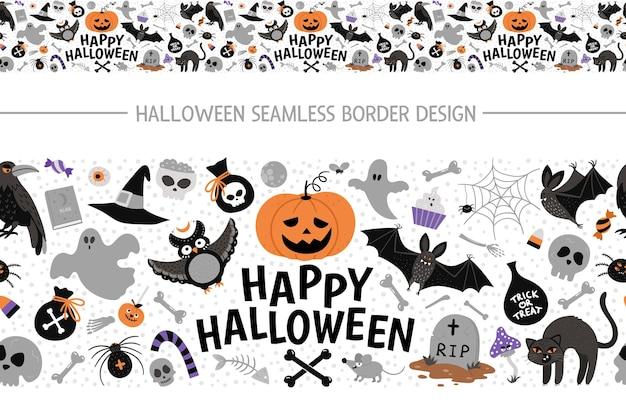 Vector naadloze grensborstel met halloween-elementen. traditionele samhain partij horizontale achtergrond. eng patroon met jack-o-lantern, spin, spook, schedel, vleermuizen, heks, vampier.