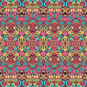 Vector naadloze patroon etnische tribal geometrische psychedelische kleurrijke print