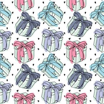 Vector naadloze patroon geschenkdozen met een boog van een lint