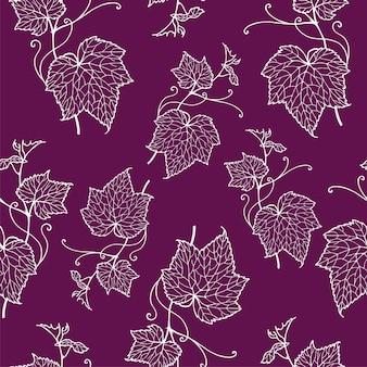 Vector naadloze patroon handgetekende van druivenbladeren.