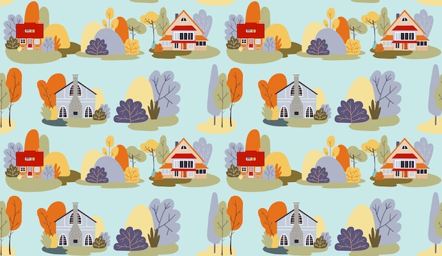 Vector naadloze patroon herfst dorp huizen landschap huisjes bomen