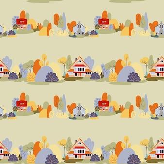 Vector naadloze patroon herfst dorp huizen landschap huisjes platteland