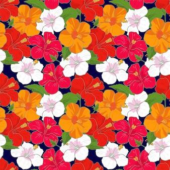 Vector naadloze patroon hibiscus bloemen, achtergrond vectorillustratie