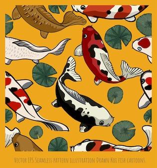 Vector naadloze patroon illustratie groep getekende koi vissen tekenfilms.