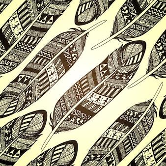 Vector naadloze patroon met etno sierlijke veren
