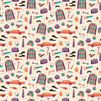 Vector naadloze patroon met mans dingen