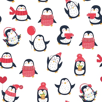 Vector naadloze patroon met schattige pinguïns