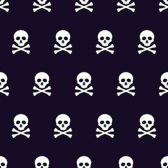 Vector naadloze patroon met schedels en botten zwarte achtergrond