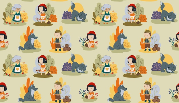 Vector naadloze patroon rode kap sprookjesachtige meisje karakter wolf en houthakker