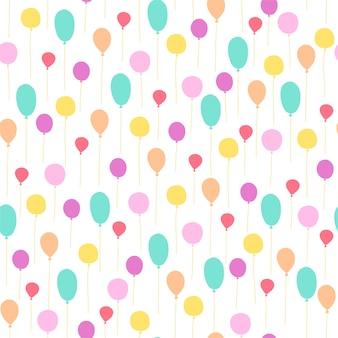 Vector naadloze patroon voor kinderen verjaardagsfeestje. platte handgetekende stijl. groene, gele en roze ballonnen geïsoleerd op een witte achtergrond. goed voor kaarten, verpakkingsgeschenken, papier, banner enz.