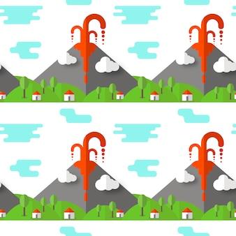 Vector naadloze patroon vulkaanuitbarsting