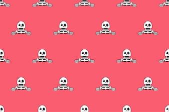 Vector naadloze patroonachtergrond van grappig skelet
