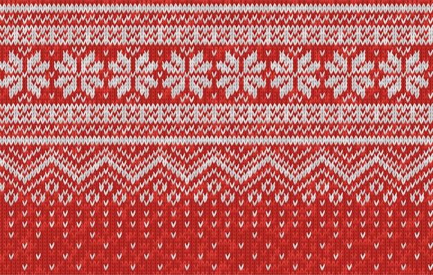 Vector naadloze textuur van rode wol breien. gebreid kerst- en nieuwjaarspatroon met sneeuwvlokken. sjabloon van breigoed voor achtergrond, behang, achtergrond. scandinavische, noorse stijl.