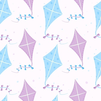 Vector naadloze zomer patroon. cartoon vliegende vliegers op een lint met strikken. kinderspeelgoed en buitenactiviteiten voor de vakantie. ontwerp voor achtergrond of inpakpapier