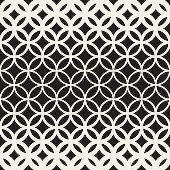 Vector naadloze zwart-wit cirkel rooster patroon
