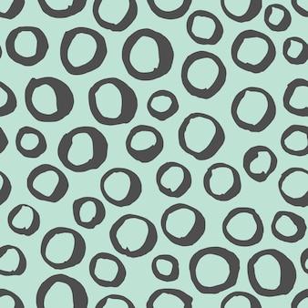 Vector naadloze zwart-wit patroon. abstracte achtergrond met ronde penseelstreken