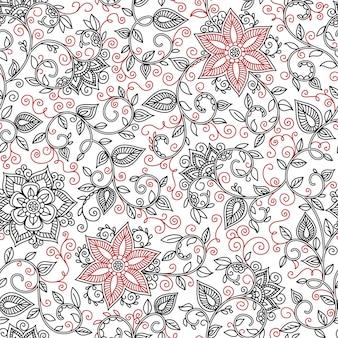 Vector naadloze zwarte en rode patroon van spiralen, wervelingen, doodles
