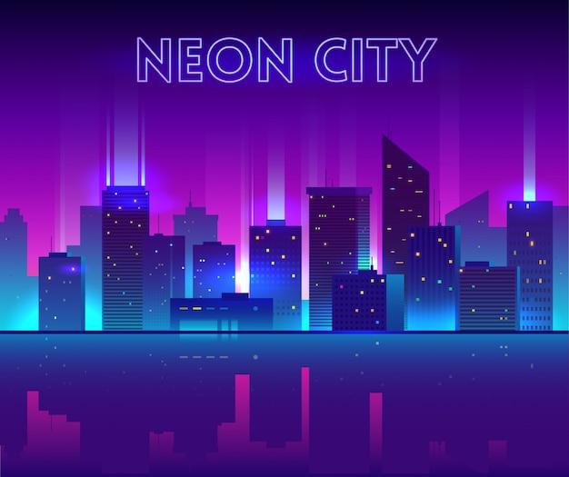Vector nacht stad illustratie met neon gloed, levendige kleuren en reflectie