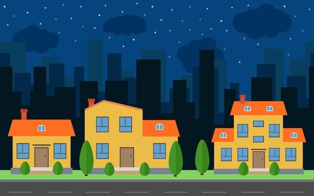 Vector nacht stad met cartoon huizen en gebouwen. stadsruimte met weg op vlakke stijl achtergrond concept. zomer stedelijk landschap. straatmening met stadsgezicht op een achtergrond