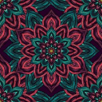 Vector natuur naadloos patroon met abstracte bloemen.