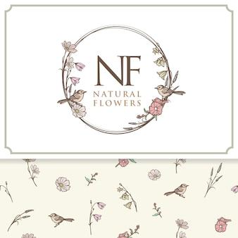 Vector natuurlijke bloemen logo label en patroon