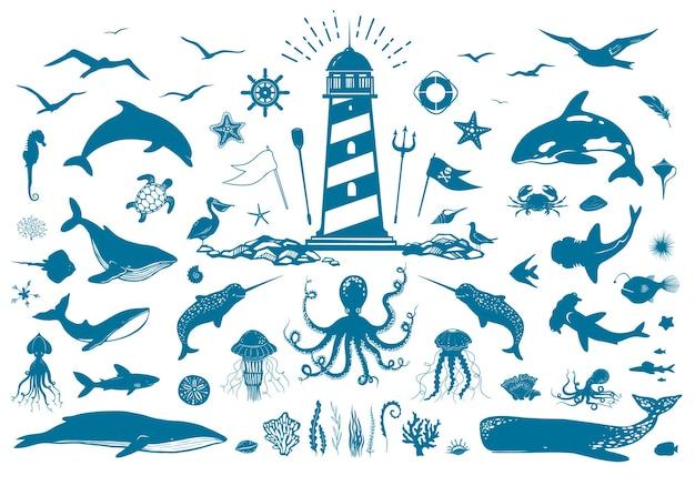 Vector nautische set met vuurtoren en zeedieren grote reeks illustraties met zeedieren