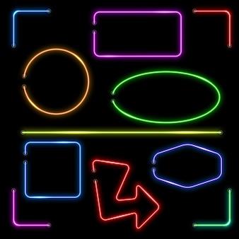 Vector neon banners instellen. kleur vorm verlichte, elektrische kleurrijke frame illustratie