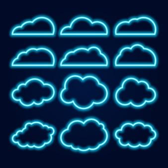 Vector neon cloud icons set, gloeiende heldere blauwe lijnen op donker
