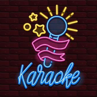 Vector neon karaoke bar muziek